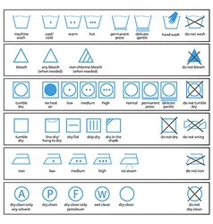 icon set of washing signs and textile care label vector image