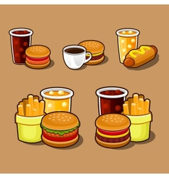 Set of colorful cartoon fast food icons vector