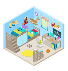 Teenager room interior isometric vector