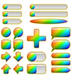 Rainbow glass buttons set vector image