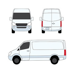 Delivery van white three sides vector