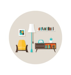 Living room flat circle icon over light brown vector