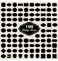 Set of 100 blank vintage frame badges and labels vector image