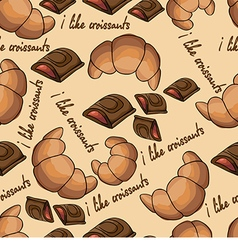 Pattern with croissants and chocolate vector