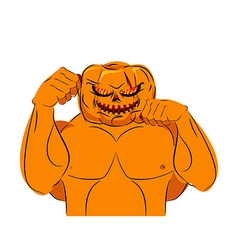 Strong pumpkin fighter ready for battle halloween vector