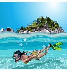 Cartoon woman with flippers dived under water vector