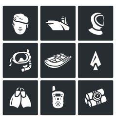 Set of commandos icons soldier ship vector