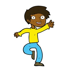 Comic cartoon excited boy dancing vector