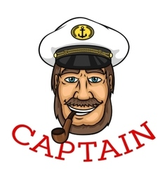 Bearded captain with pipe and white cap vector