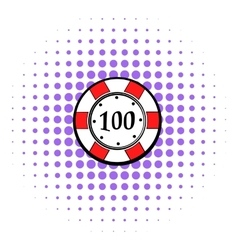 100 dollars casino chip icon comics style vector