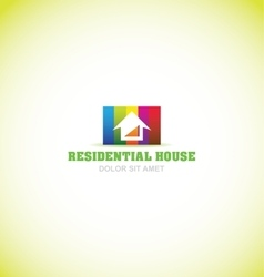 Real estate house colors logo icon vector
