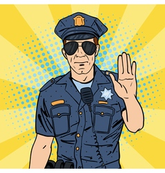 Cool policeman serious police officer pop art vector