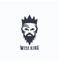 Wise King Abstract Logo Template Bearded vector image