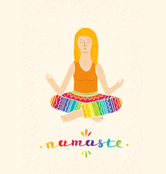 a cute girl practicing yoga vector image vector image