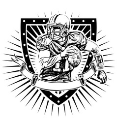 american football shield vector image vector image