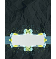Background of crumple paper with decorative label vector