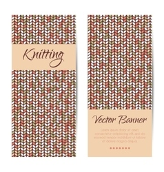 Banners brochures set knitting pattern vector