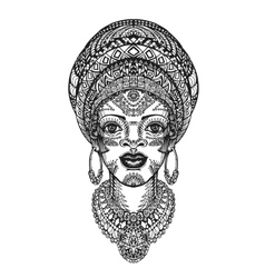 Beautiful african woman in turban Hand drawn vector image vector image