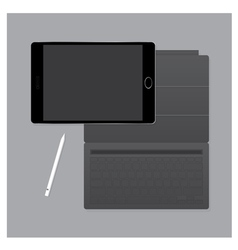 Black tablet pro with keyboard case and pen vector