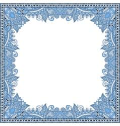 Blue colour floral vintage frame ukrainian ethnic vector