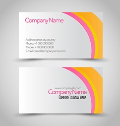Business card set template Pink orange and white vector image