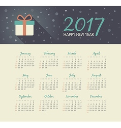 Calendar 2017 year with christmas gift vector