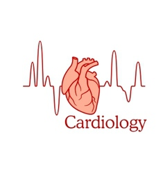 Cardiology concept with an ecg and heart vector