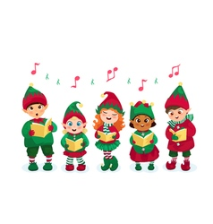 Caroling kids set vector