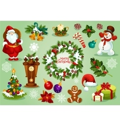 Christmas and New Year icon set for festive design vector image vector image