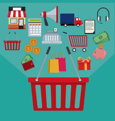 color background with basket shopping with handle vector image vector image