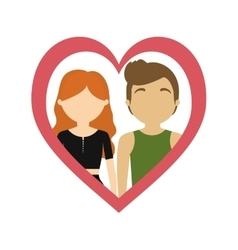 Couple love frame heart romance emotion vector