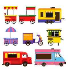 Different food trucks set vector