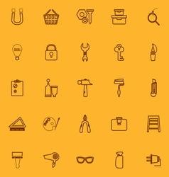 Diy brown line icons vector