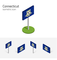 Flag of connecticut usa 3d isometric icons vector