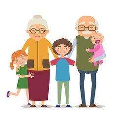 Grandparents with their grandchildren vector
