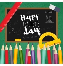 Greeting card happy teachers day vector