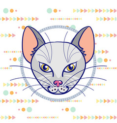 Hand drawing a portrait of a gray cat in a circle vector