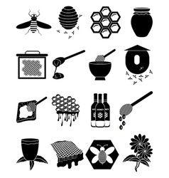 Honey Bees icons set vector image vector image