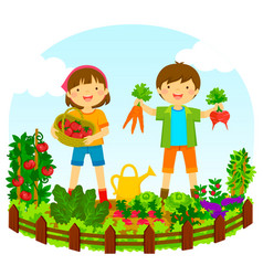 Kids in a vegetable garden vector