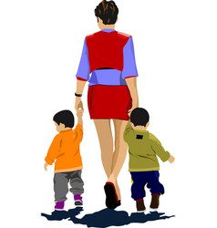 mother walking with two children vector image vector image
