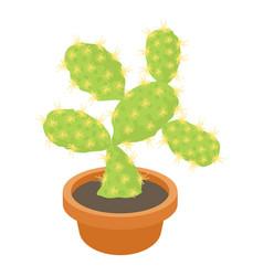 Opuntia cactus icon cartoon style vector