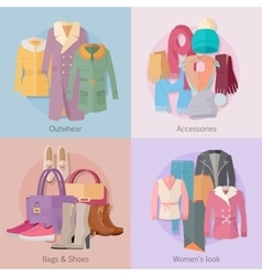 Outwear accesoiries bags shoes womens look banner vector