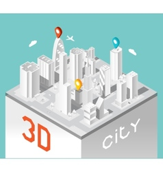 Paper 3d city isometric buildings landscape vector