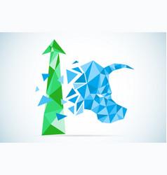 Polygonal bull symbol with green arrow stock vector