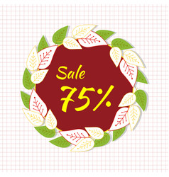 round frame with the text sale 75 percent a vector image vector image