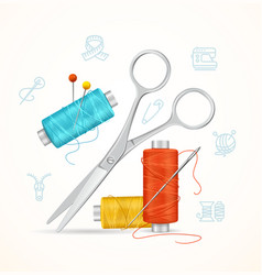 Sewing and needlework tools concept vector