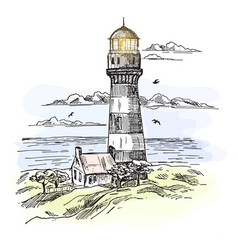 Sketch of island with lighthouse at ocean waters vector