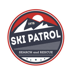 Ski patrol isolated vintage label vector