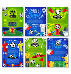 Soccer sport club poster with football team player vector