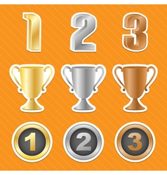 Trophy cups stickers vector